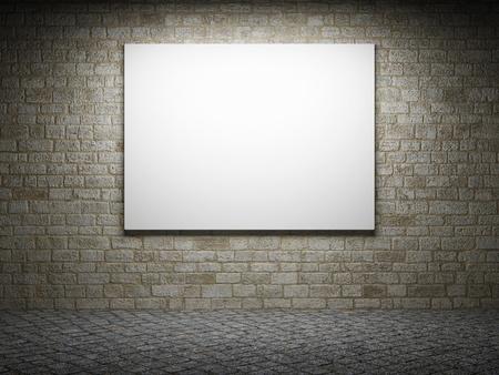 billboard blank: Illuminated blank advertising billboard on a brick wall Stock Photo