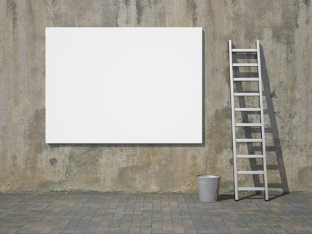 Blank advertising billboard on dirty grunge wall Stock Photo - 10539394