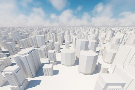 city square: An abstract 3d city background with sky