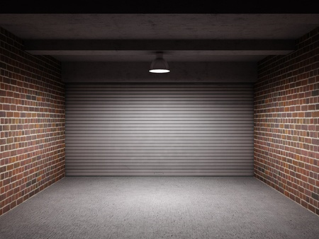 Empty garage with metal roll up door Stock Photo - 10539417