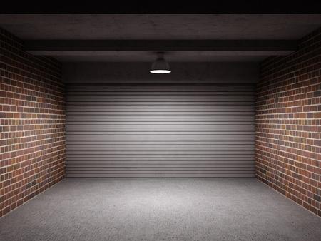Empty garage with metal roll up door Stock Photo