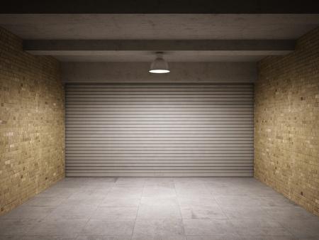 iluminado: Garaje vacío con metal resumir puerta