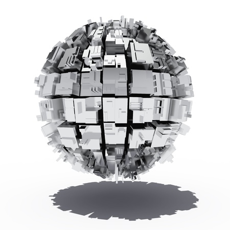 steel: Metal sphere with abstract geometric shapes Stock Photo
