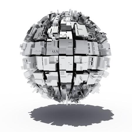 acier: Sph�re m�tallique avec des formes g�om�triques abstraits Banque d'images