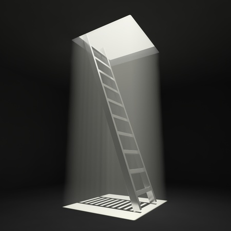 rung: Ladder leading up to the light