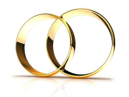 Golden wedding rings  isolated on white background photo