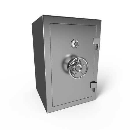 combination lock: Bank safe isolated on white background