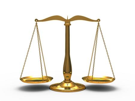 balanza en equilibrio: Oro escala a justicia aislada sobre fondo blanco Foto de archivo