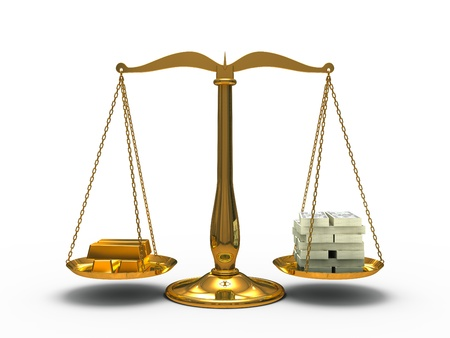 Gold and money balance on the scales photo