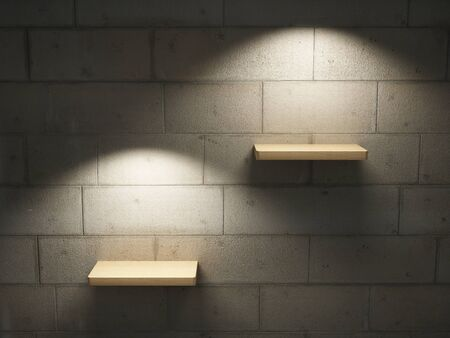 Illuminated empty shelves on a brick wall Stock Photo - 10539419
