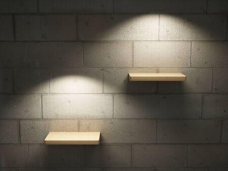 Illuminated empty shelves on a brick wall Stock Photo - 10539419