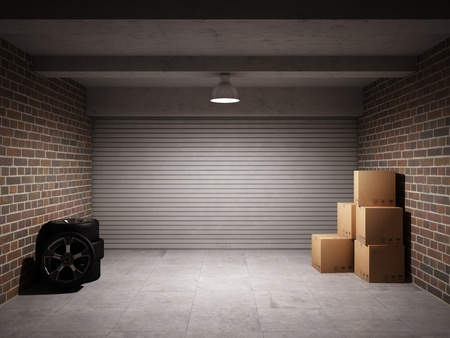 illuminated wall: Empty garage with metal roll up door Stock Photo