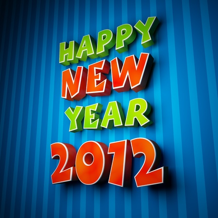 Happy new year 2012 on strip blue background photo