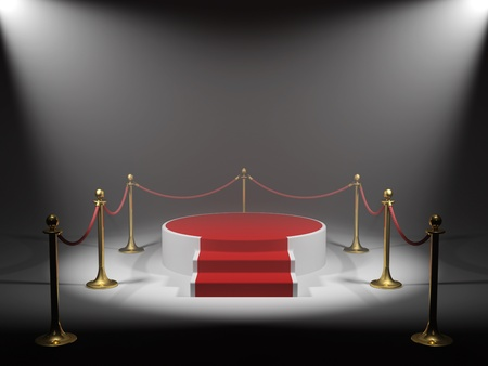 black carpet: Podium for winner in light beam