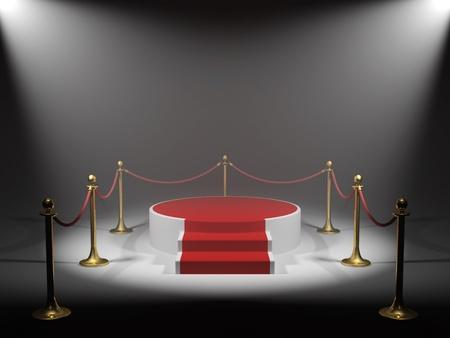 remise de prix: Podium pour Vainqueur en faisceau lumineux Banque d'images