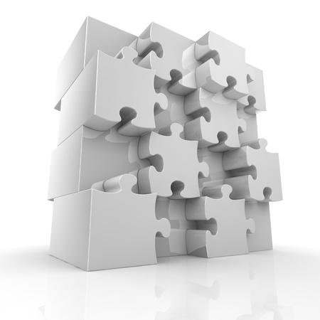 piezas de puzzle: Rompecabezas de rompecabezas en blanco grande Foto de archivo