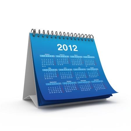 calendario escritorio: Calendario de escritorio para el 2012 a�o aislado en el fondo blanco