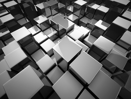 3d illustration: Abstract background from metallic cubes Stock Photo