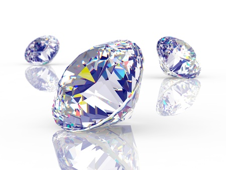 three objects: Brilliant diamonds Stock Photo