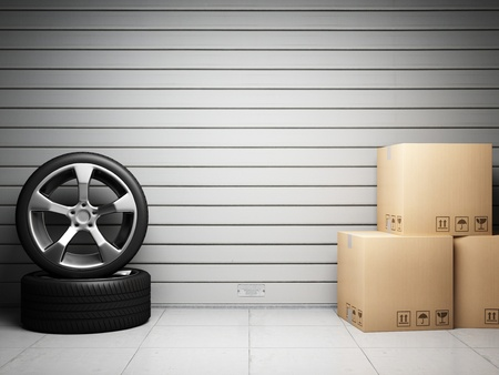 spare car: Garage with car spare parts on background of roll up door Stock Photo