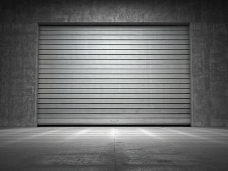 serrande: Costruzione di cemento grungy con rimboccarsi porta