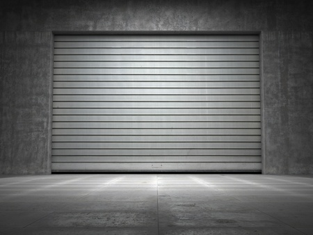 puertas viejas: La construcci�n de hormig�n sucio con rollo de la puerta