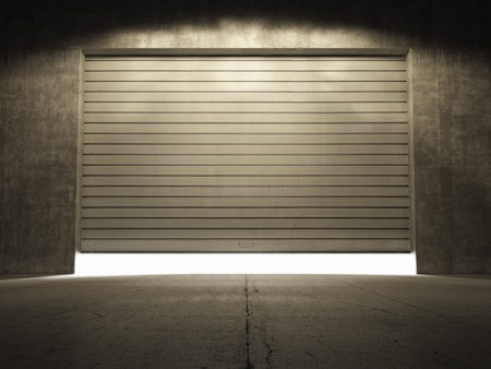 shutter: Spotlight illuminate building of grungy concrete with roll up door