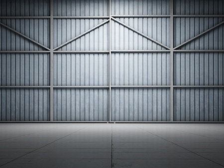 Large warehouse door illuminate spotlight photo