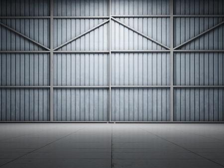 Large warehouse door illuminate spotlight Stock Photo - 11308819