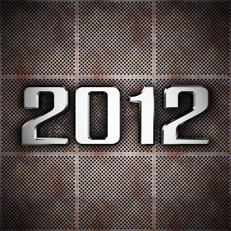 New year 2012 on perforated metal plate corrosion photo