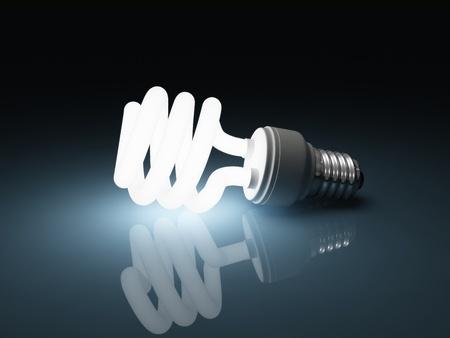 Glowing fluorescent light bulb photo