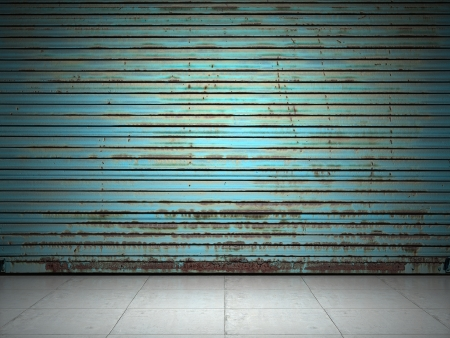 garage: Illuminated grunge metallic roll up door