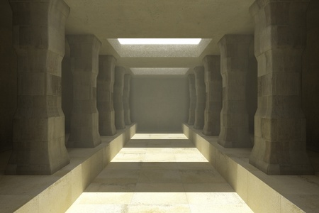crypt: Long corridor of pillars in temple ruins Stock Photo