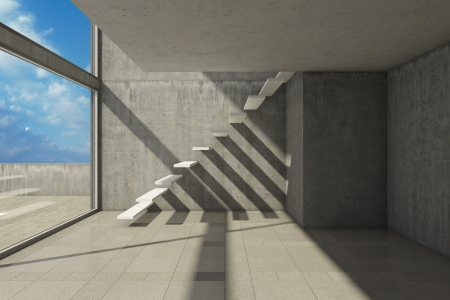 concrete stairs: Empty modern hall with stairs