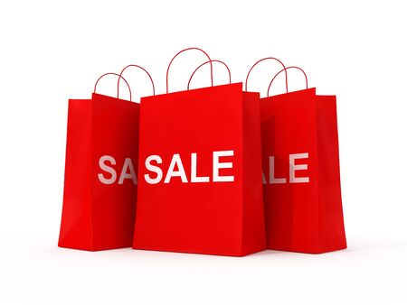 Blank shopping red bags for sale Stock Photo - 11768288