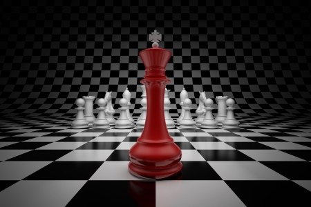 jugando ajedrez: Rey de líder a la cabeza de ajedrez en tablero de ajedrez Foto de archivo