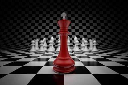 �checs: Roi de leader � la t�te du jeu d'�checs sur l'�chiquier