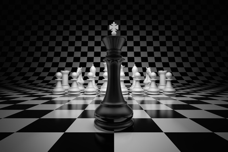 King of leader at the head of chess on chessboard Stock Photo