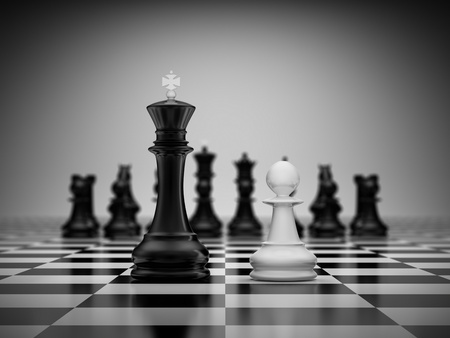 Confrontation king and pawn on chessboard Stock Photo