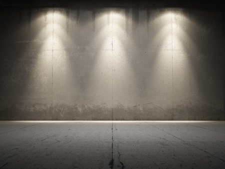industrial background: Spotlight illuminate grungy concrete
