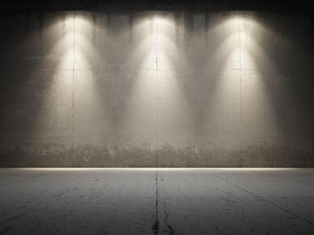 iluminado: Spotlight ilumina concreta grungy Foto de archivo
