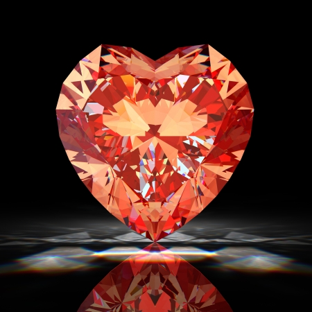 glass heart: Red diamond heart