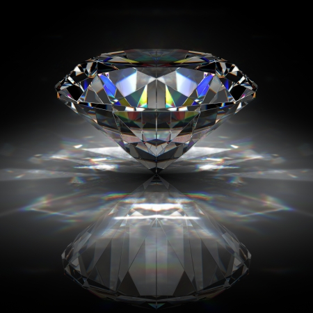precious stone: Brilliant diamond on black surface