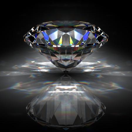 pietre preziose: Diamante brillante sulla superficie nera