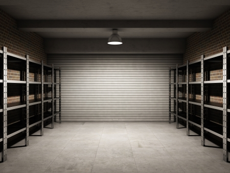 abandoned warehouse: Empty garage with metallic shelves Stock Photo