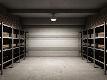 mensole: Garage vuoto con scaffalature metalliche Archivio Fotografico