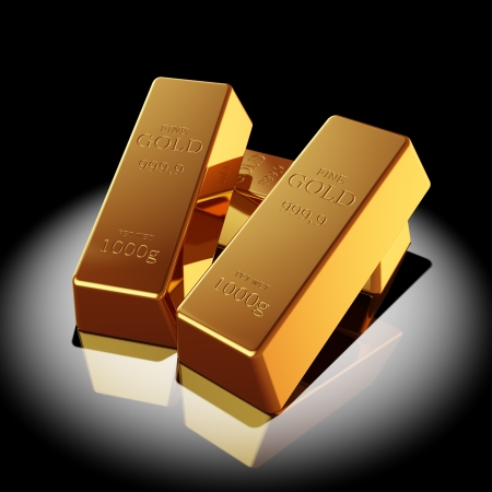 Gold bars illuminated spotlight Stock Photo