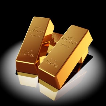 gold ingot: Gold bars illuminated spotlight Stock Photo