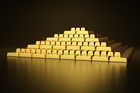 Pyramid of gold bars photo