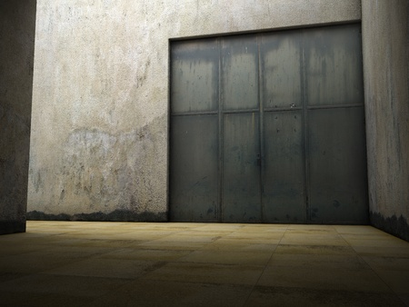 Empty space of grungy concrete with door photo